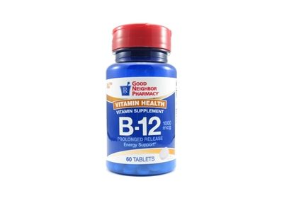 Vitamin B-12, Cyanocobalamin, 1,000mcg Tablets, 60/Bottle