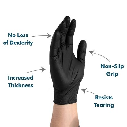Gloves, Nitrile Synthetic, P/F 2nd Skin, Black, 100/Box